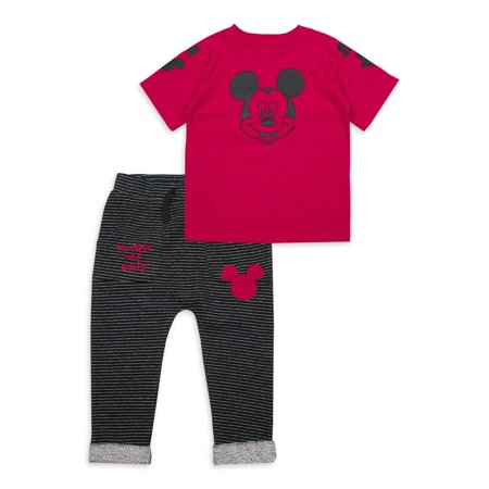 Mickey Mouse Baby Boy Short Sleeve T-Shirt & Sweatpants, 2pc Outfit Set ()