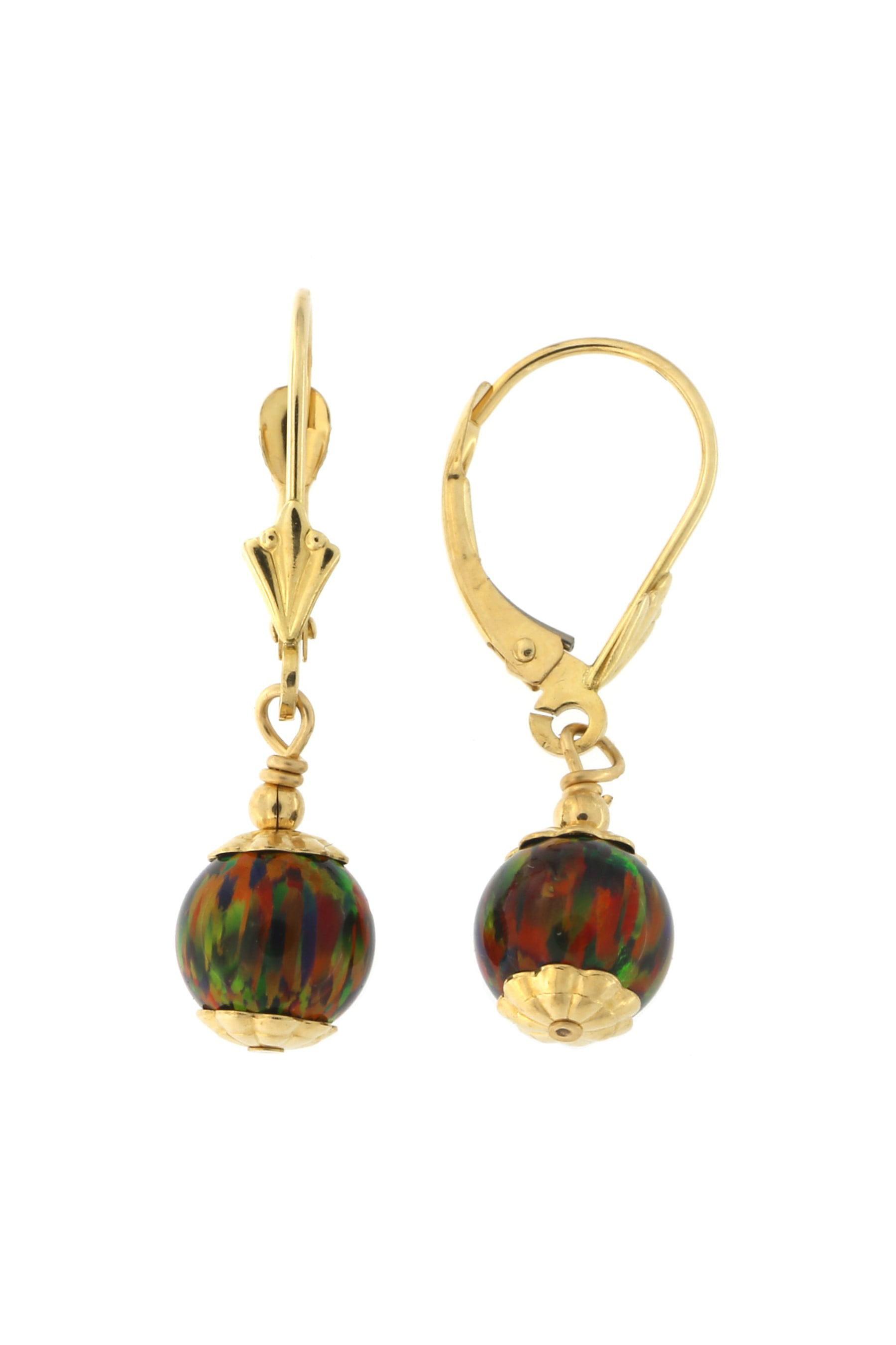 14k Yellow Gold 7mm Simulated Opal Leverback Dangle Earrings