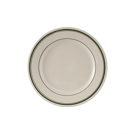White Wide Rim Plate (Green Bay 10 1/2 inch Plate Wide Rim in Eggshell American White with Green Bands/Case of 12 )