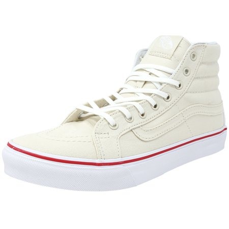 e3c989d390 Vans - Vans Sk8-Hi Slim Leather Canvas Bone   True White High-Top Fashion  Sneaker - 10M 8.5M - Walmart.com