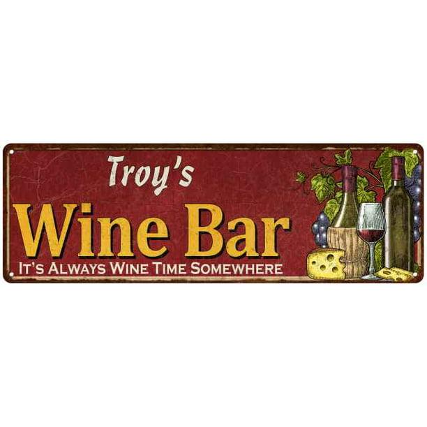 Troy S Wine Bar Red Sign Home Kitchen Decor 6x18 Sign 106180056347 Walmart Com Walmart Com