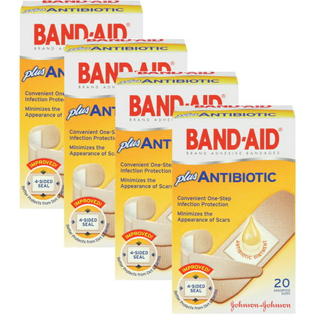 (4 Pack) Band-Aid Brand Adhesive Bandages with Neosporin Antibiotic Ointment, Pack of Assorted Sizes, for Wound Care and First Aid, 20 ct