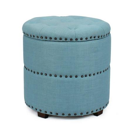 Euro Ottoman (Homebeez Euro Style Fabric Bench Ottoman Chair Footstool, Wood Legs, lid storage, Nailhead Trim, Cylinder)