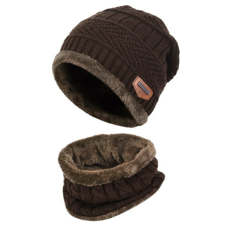 Knit Patterns Children Hats (Kids Warm Knitted Hat and Circle Scarf with Fleece Lining)