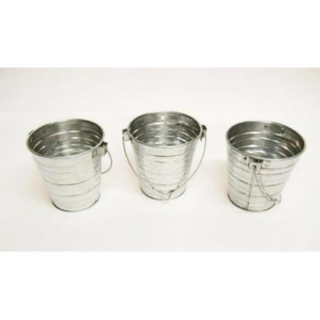 Set of 3 Galvanized Bucket w/ Handle 1 Qt - Mini Galvanized Buckets
