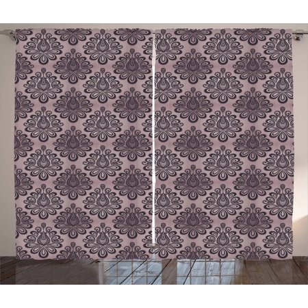 Traditional Curtains 2 Panels Set Damask Style Grey Motifs With Little Dots And Curly Leaves Vintage Art Window Drapes For Living Room Bedroom 108w