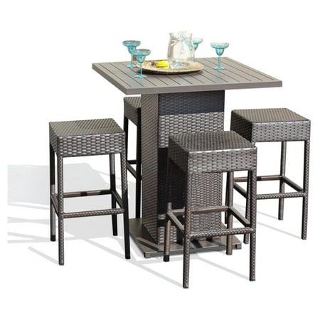 TK Classics Napa Wicker 5 Piece Outdoor Pub Table Set