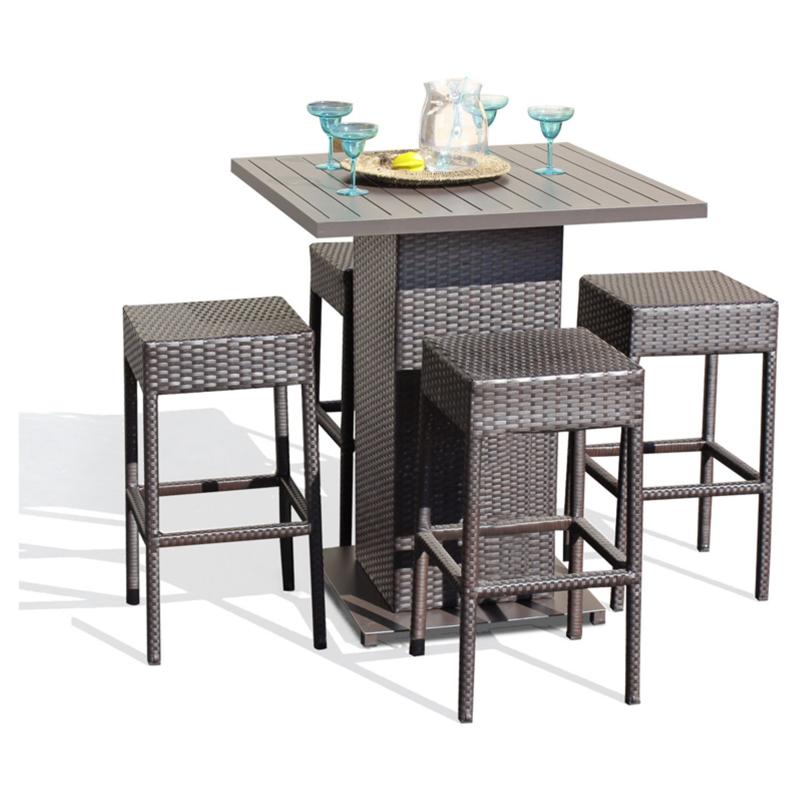 TK Classics Napa Wicker 5 Piece Outdoor Pub Table Set