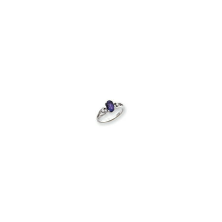 Solid 14k White Gold 7x5mm Oval Simulated Amethyst AA Diamond ring - Size 4