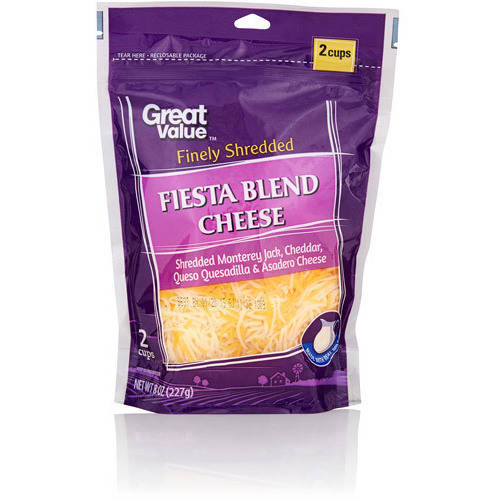 Great Value: Finely Shredded Fiesta Blend Cheese, 8 Oz