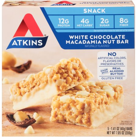 Atkins White Chocolate Macadamia Nut Bar, 1.41oz, 5-pack (Snack Bar)