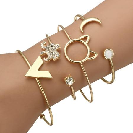 Girl12Queen 4Pcs Fashion Women Cat Elephant Rhinestones Open Bracelet Bangle Jewelry - Cat Bangles