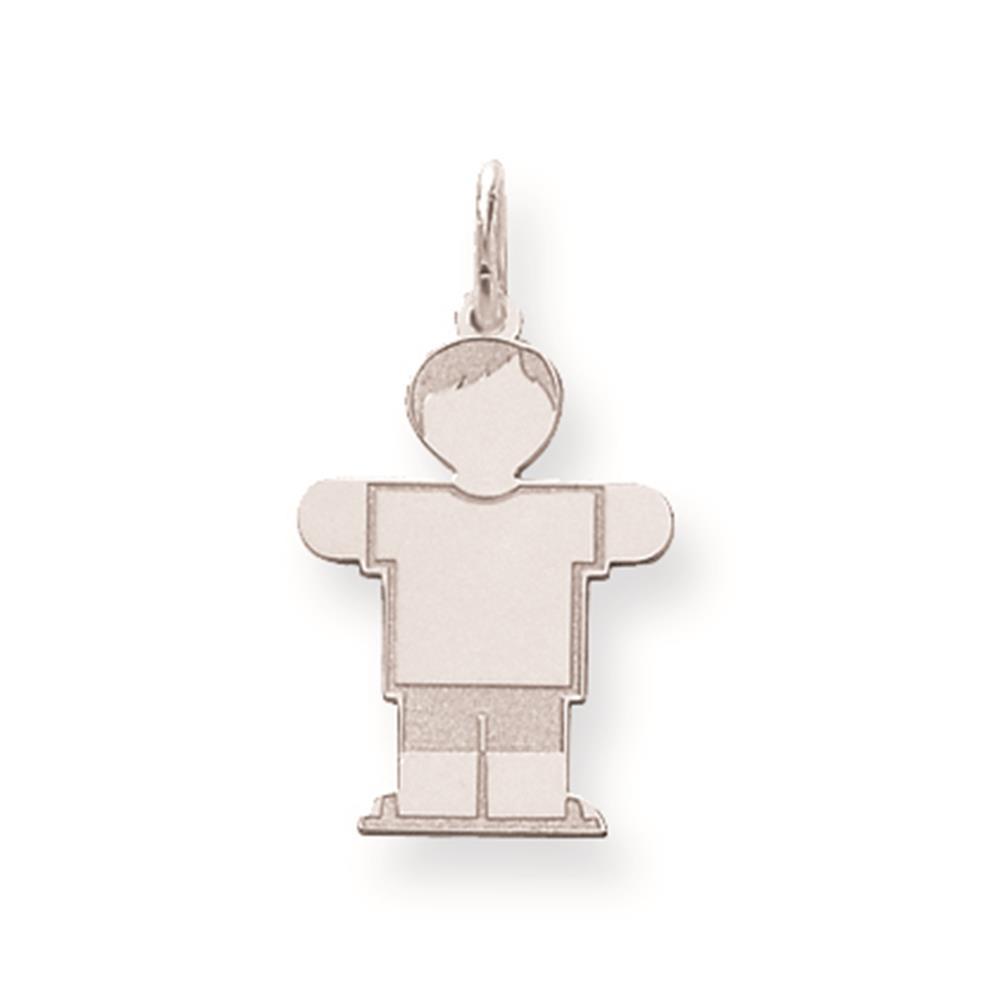 Sterling Silver Laser-cut Engravable Kid Solid Charm Pendant