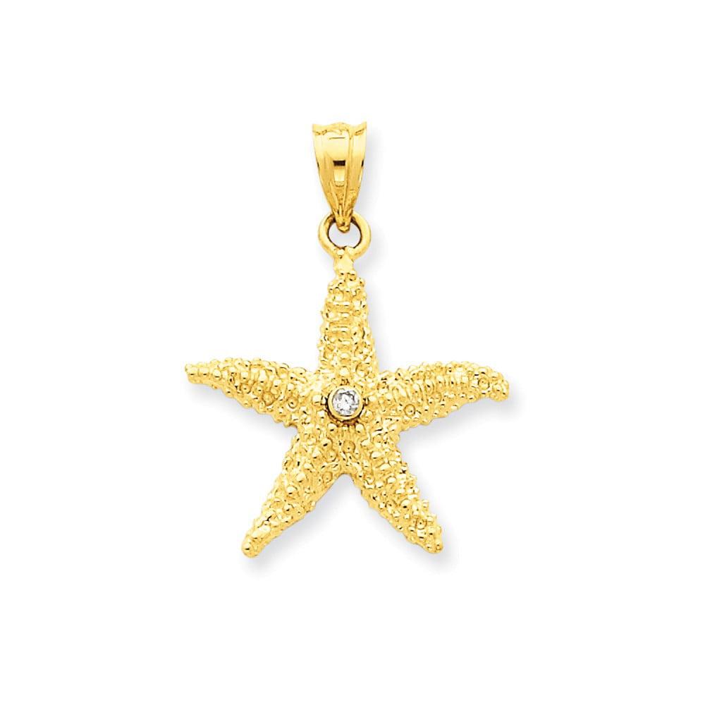 14k Yellow Gold Diamond Starfish Pendant. Carat Wt- 0.04ct