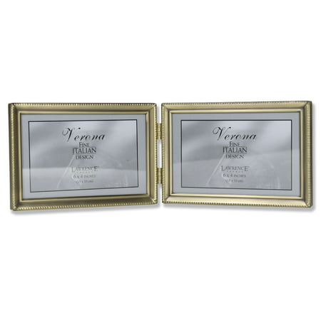 Antique Brass 4x6 Hinged Double Horizontal Picture Frame - Bead Border Design
