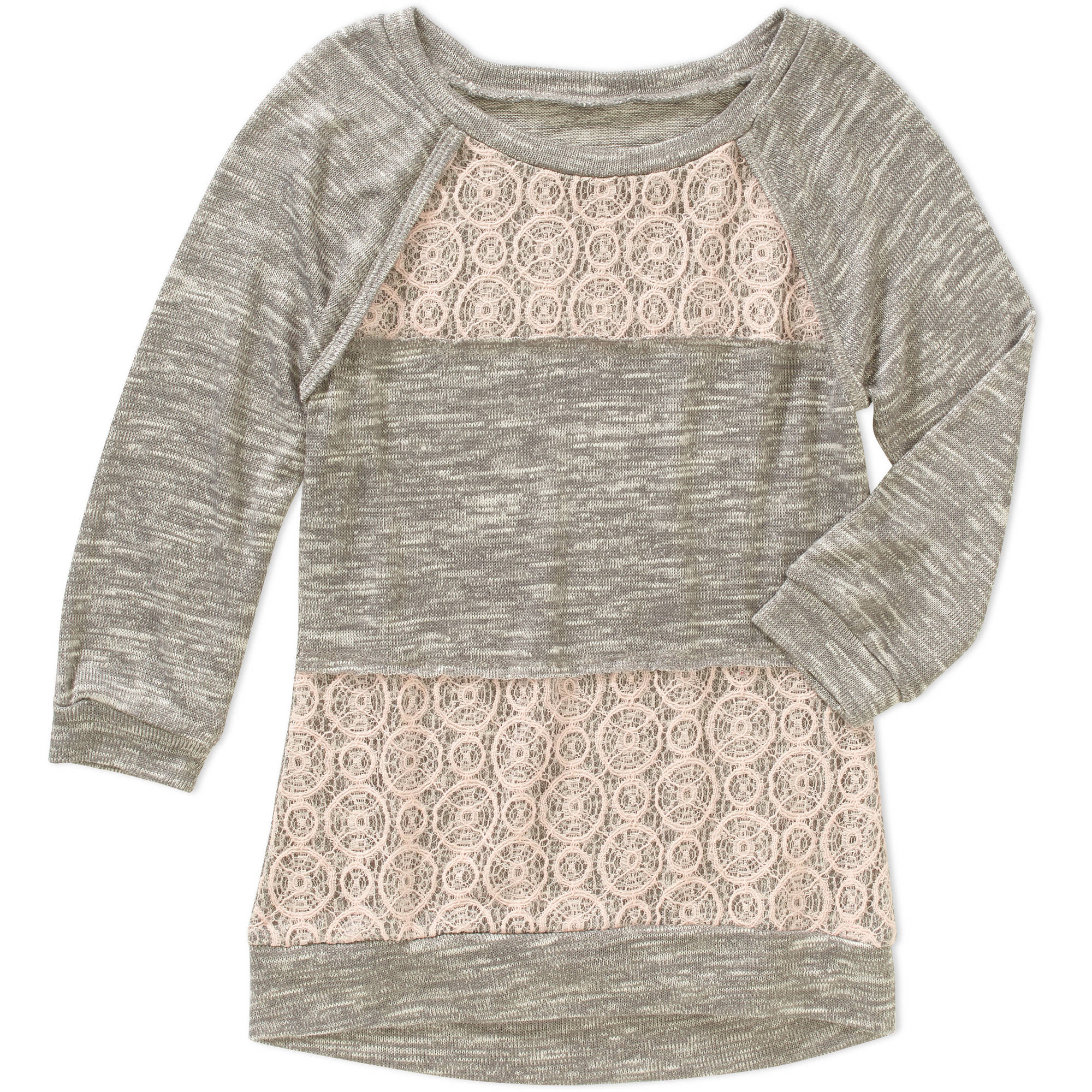 Miss Chievous Girls' 3/4 Raglan Sleeve Crochet Panel Tunic