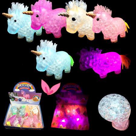 Light Up Unicorn Mesh Balls LED Squishy Grape Squeeze Stress Unicornio Flashing Party Bags Favors (12 Pack) (Idp Bag)