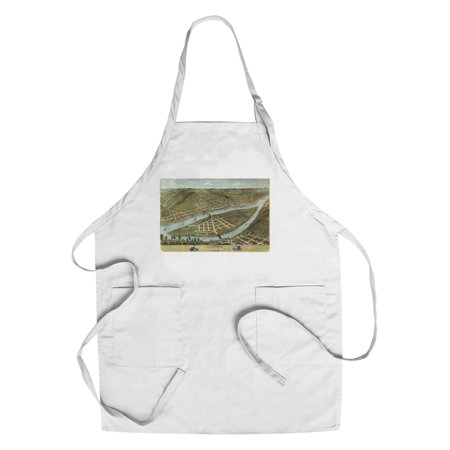 Wheeling  West Virginia   Panoramic Map  Cotton Polyester Chefs Apron