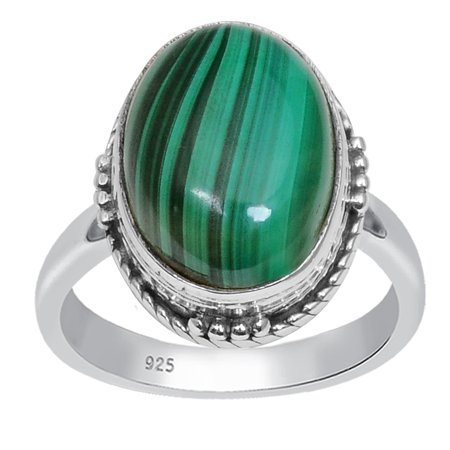 Beautiful 5.77 Ctw Oval Malachite 925 Sterling Silver Anniversary Ring For the One by Orchid Jewelry