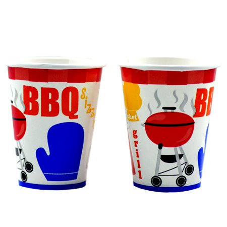 Backyard BBQ 9oz Paper Cups (8ct)](Backyard Bbq Party Supplies)
