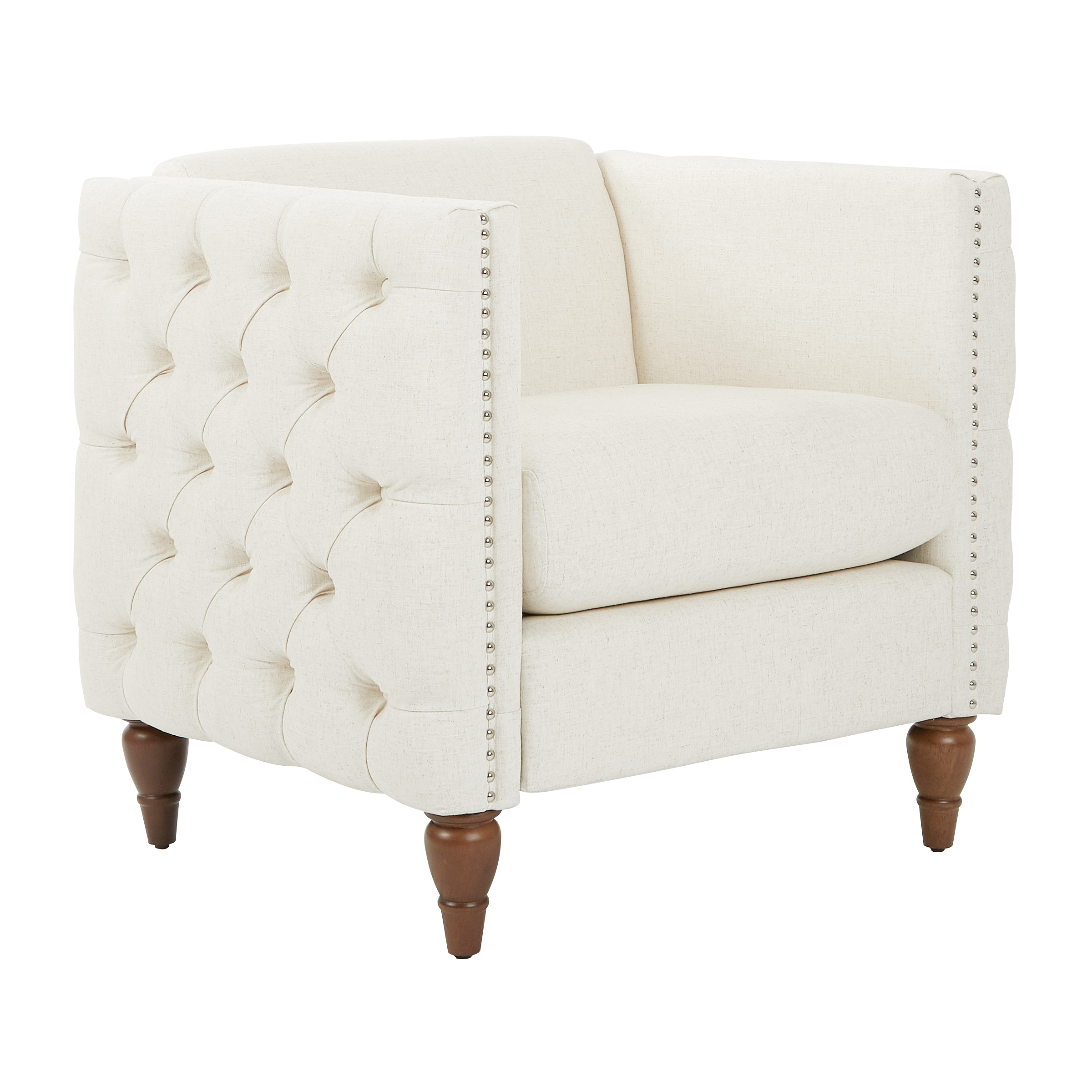 Evie Tufted Chair In Linen Fabric With Coffee Legs K D