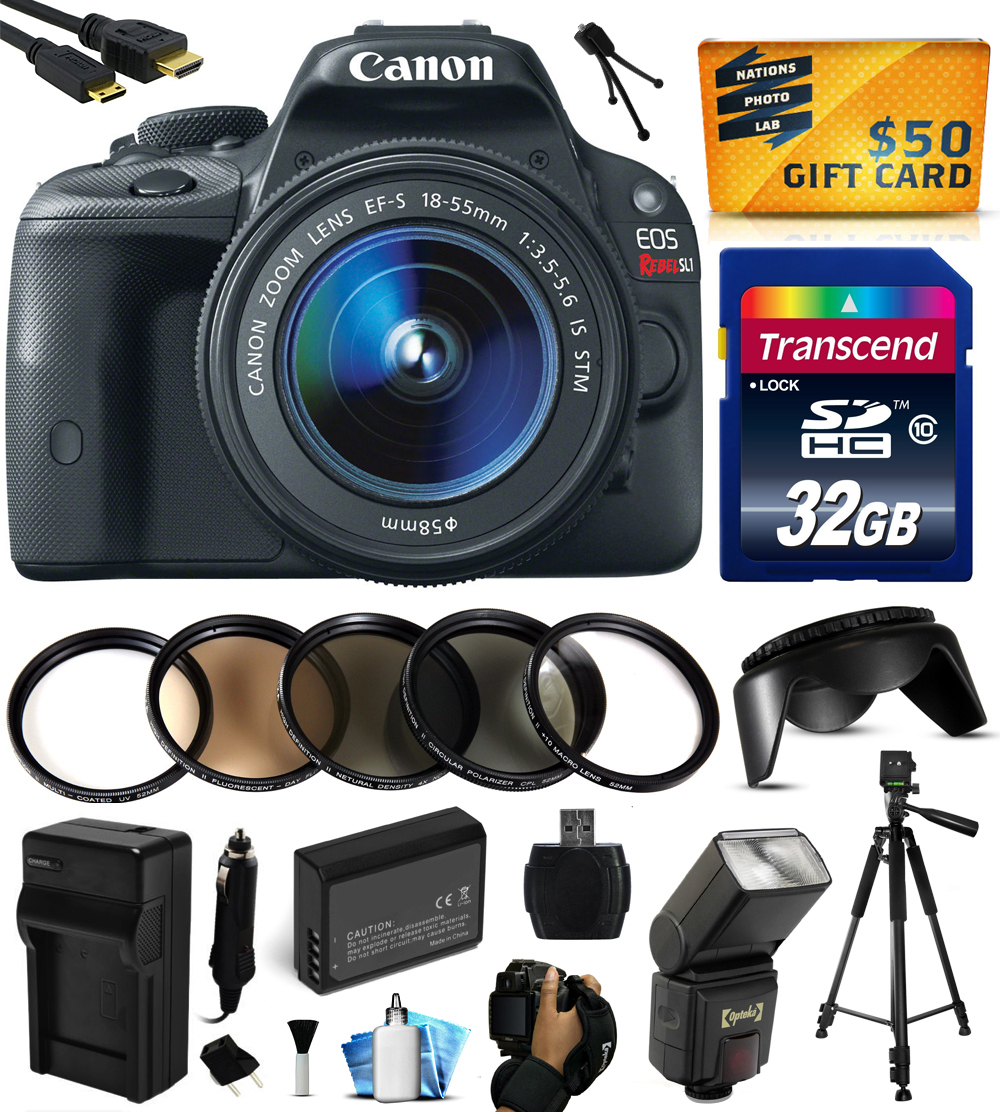 Canon EOS Rebel SL1 Digital SLR with 18-55mm STM Lens with 32GB Memory + Flash + Extra Battery + Charger + Filters + Card Reader + Grip Strap + HDMI Mini Cable + Cleaning Kit + $50 Gift Card 8575B003