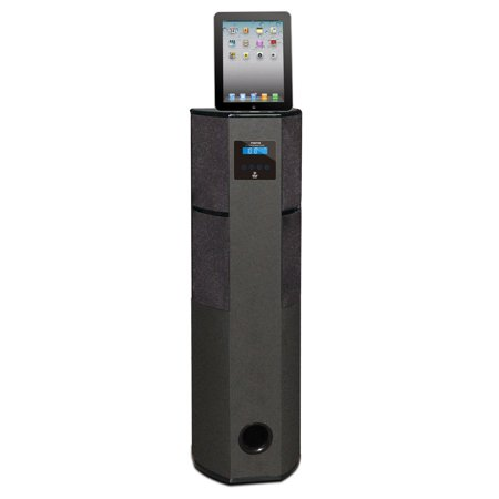 PYLE PHBT98PBK - Bluetooth 600 Watt 2.1 Channel Digital Home Theater Tower with iPod, iPad, iPhone Docking Station, FM Radio & Alarm Clock