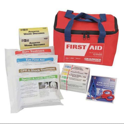 54556 First Aid Kit,Bulk,Red,46 Pcs,50 People