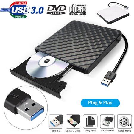 External DVD Drive USB 3.0, EEEkit Portable CD DVD +/-RW Optical Drive Burner Writer for Windows 10/8 / 7 Laptop Desktop Mac MacBook Pro Air iMac HP Dell LG Asus Acer Lenovo Thinkpad, Black ()