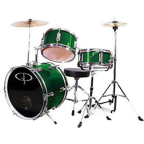 GP Percussion 3-Piece Complete Junior Drum Set, Metallic Forest Green