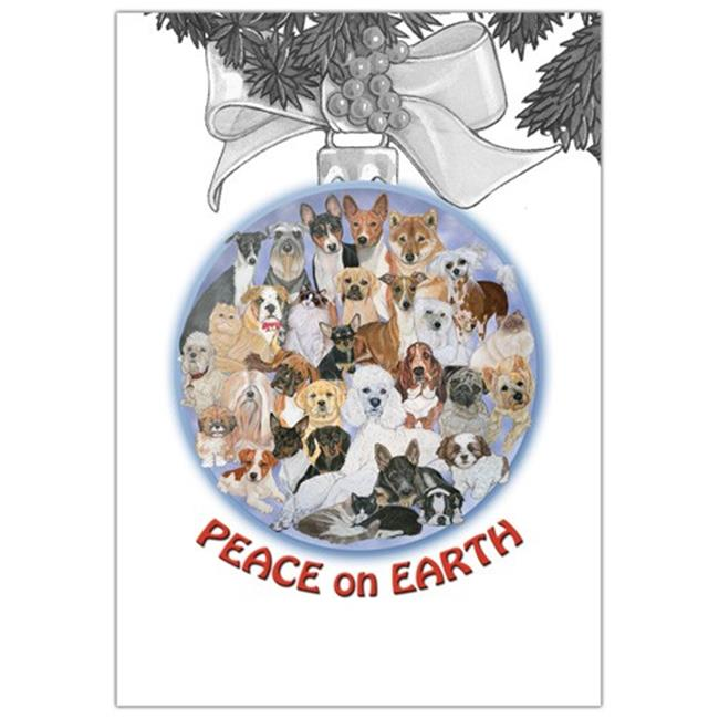 Pipsqueak Productions C701 Peace On Earth Mix Dog with Cat Christmas Boxed Cards - Pack of 10