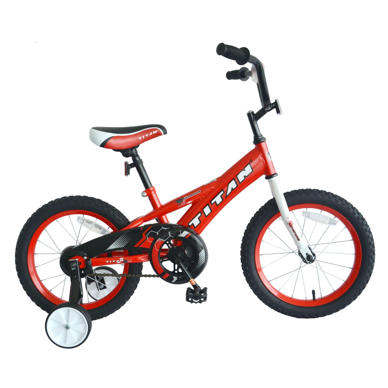 TITAN Champion Boys BMX Bike with Training Wheels, 16-Inch, Red by Titan