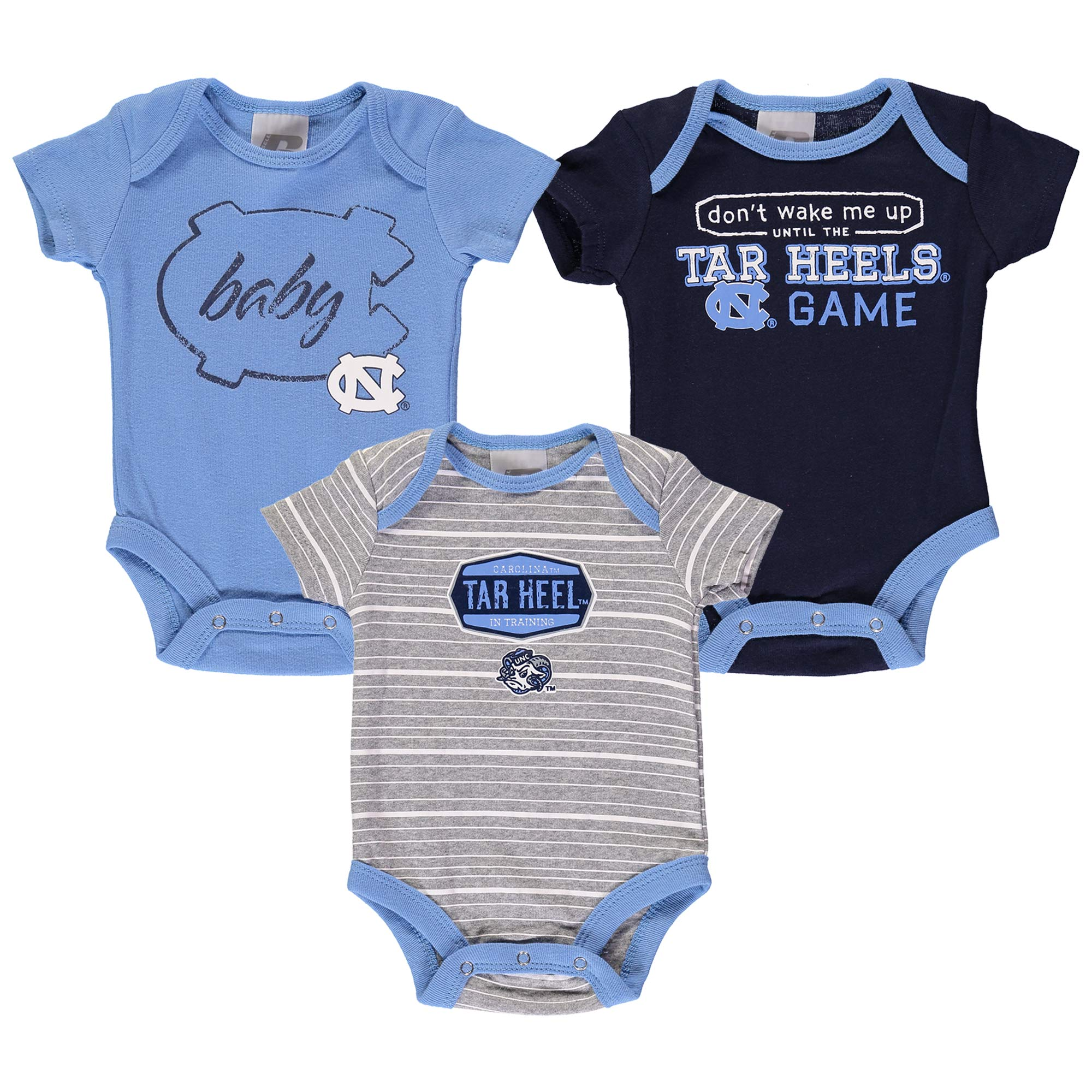 Newborn & Infant Russell Carolina Blue North Carolina Tar Heels Three-Pack Bodysuit Set