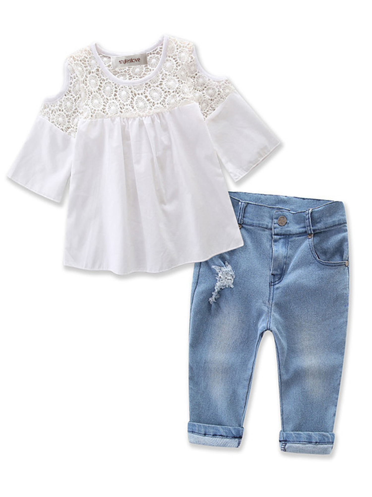 StylesILove Sweet Girl Lace Design Off Shoulder 3/4 Sleeve Blouses and Jeans 2 pcs Outfit Set (3T)