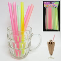 25 Pc Milkshake Straws Jumbo Smoothie Drinking Party Neon Large Thick Straw Boba