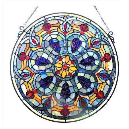 "CHLOE Lighting Tiffany-glass Victorian Window Panel 20"""