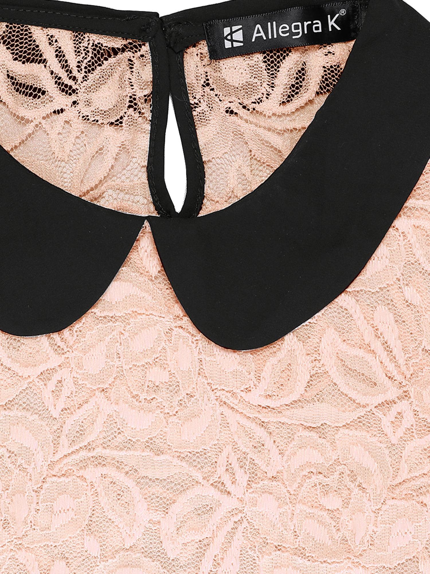 Unique Bargains Women\'s See Through Contrast Peter Pan Collar Lace ...