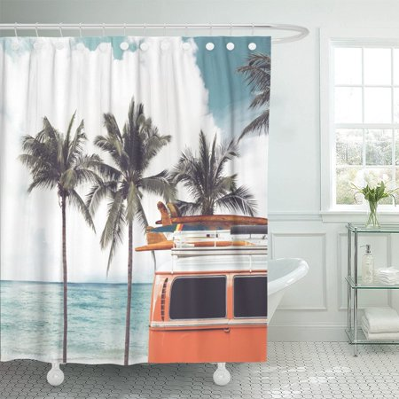 PKNMT Vintage Car Parked Tropical Beach Seaside Surfboard Roof Leisure Polyester Shower Curtain 60x72 inches ()