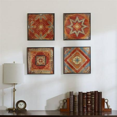 Madison Park Moroccan Tile Gel Coat Deco Box 4pcs Set Red 15x15x15