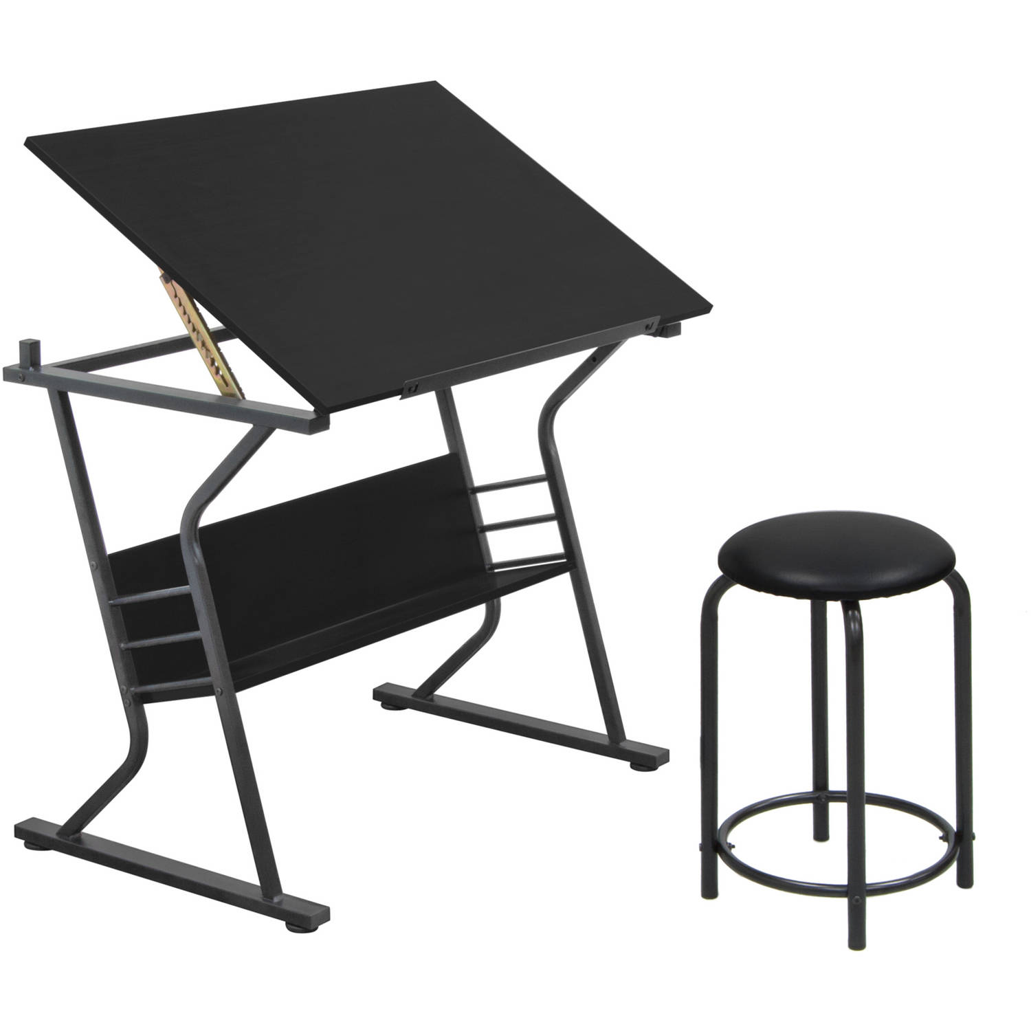 studio designs eclipse table with stool black - Drafting Tables