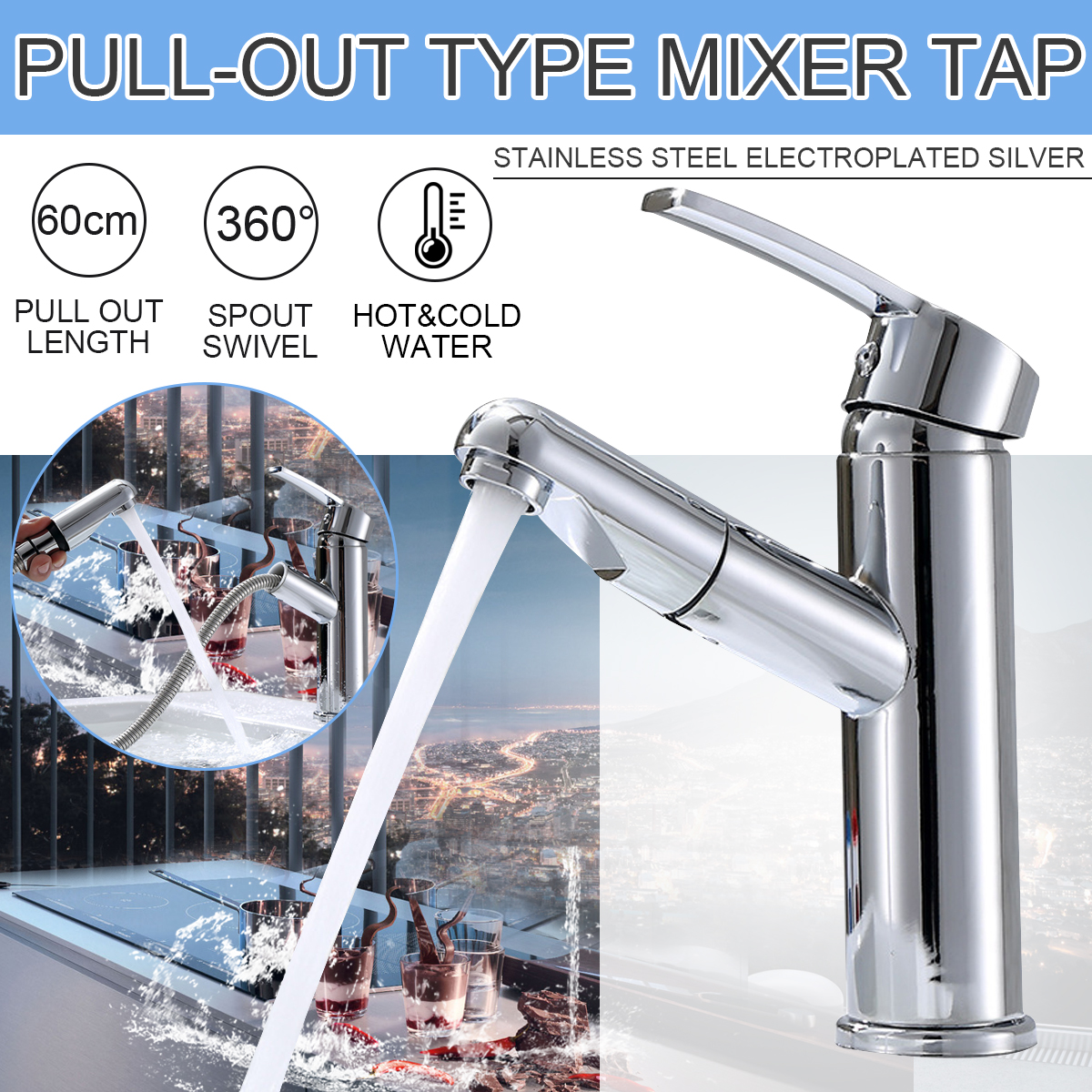 Kitchen Basin Sink 360° Swivel Pull Out Faucet Spray Hot /& Cold Water Mixer Tap