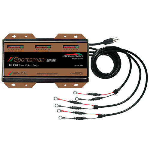 Dual Pro Sportsman Series Charger, 10-amp/3-Bank SS3