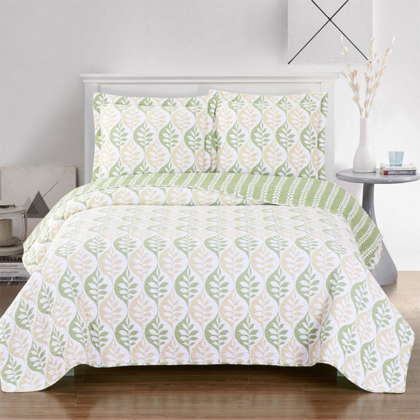 Gia Paisley Oversized Quilted Coverlet Set Full Queen Walmart Com Walmart Com