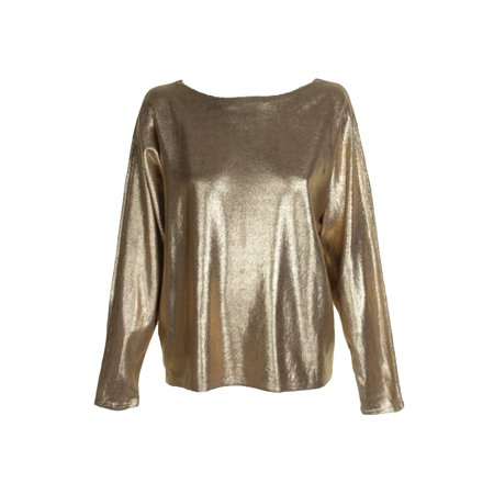 Lauren Ralph Lauren Gold Metallic Dolman-Sleeve Boat Neck Sweater XS