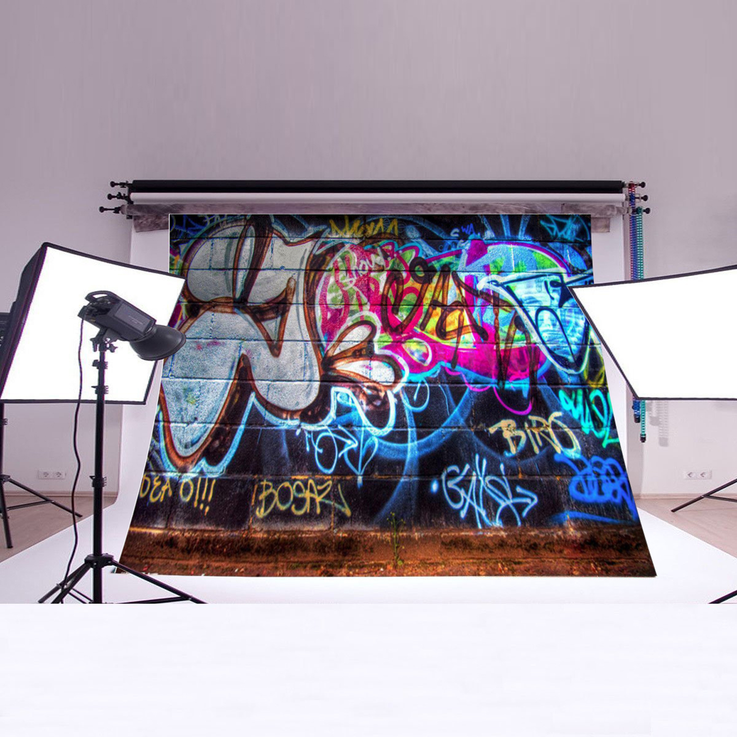 NK HOME Studio Photo Video Photography Backdrops 5x3ft Bright Graffiti Scenic Printed Vinyl Fabric Background Screen Props