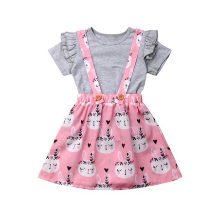 Toddler Kid Girls Short Sleeve Ruffle Tops T-Shirt Rabbit Skirts Outfits Grey+Pink - Roger Rabbit Outfit