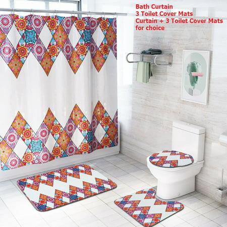 70.8'' x 70.8'' Bohemian Style Waterproof Fabric Shower Curtain + 3 Pcs Non-Slip Pedestal Rugs Toilet Seat Lid Cover Bathroom Set ()