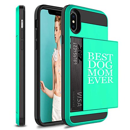 Wallet Credit Card ID Holder Shockproof Protective Hard Case Cover for Apple iPhone Best Dog Mom Ever (Seafoam-Green, for Apple iPhone X/iPhone (Best Iphone Credit Card Processing)