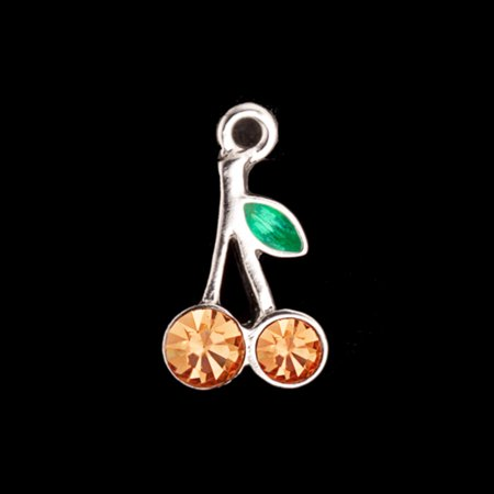 Green Enamel Leaf Cherry Silver-Plated Charms With Light Peach Preciosa Czech Crystal 16.5x10mm pack Of 4pcs