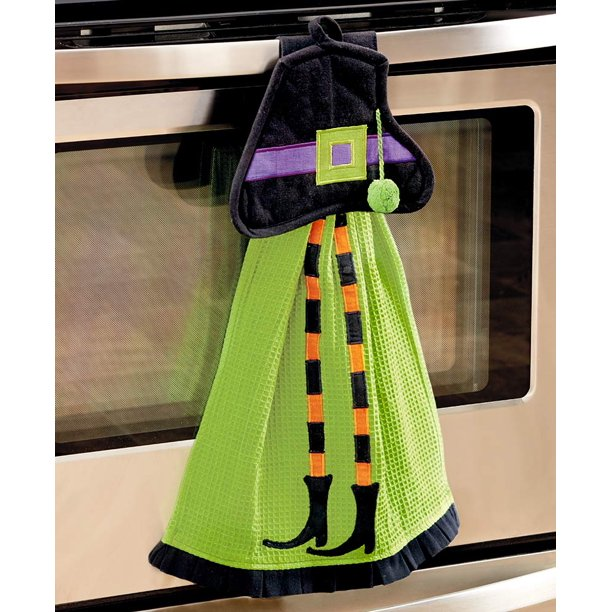 2 Pc Towel Pot Holder Halloween Kitchen Set Witch By Knl Store Walmart Com Walmart Com